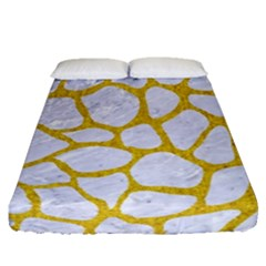 Skin1 White Marble & Yellow Denim Fitted Sheet (queen Size) by trendistuff