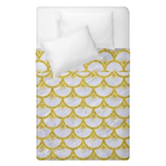 Scales3 White Marble & Yellow Denim (r) Duvet Cover Double Side (single Size) by trendistuff