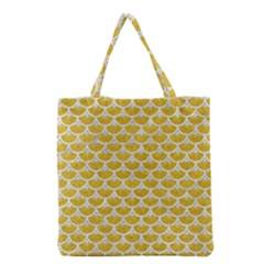Scales3 White Marble & Yellow Denim Grocery Tote Bag by trendistuff