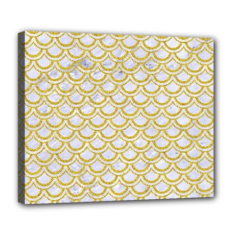 SCALES2 WHITE MARBLE & YELLOW DENIM (R) Deluxe Canvas 24  x 20