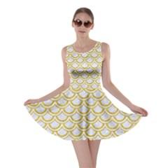 SCALES2 WHITE MARBLE & YELLOW DENIM (R) Skater Dress