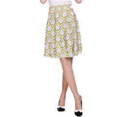SCALES2 WHITE MARBLE & YELLOW DENIM (R) A-Line Skirt