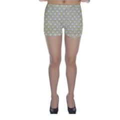 SCALES2 WHITE MARBLE & YELLOW DENIM (R) Skinny Shorts