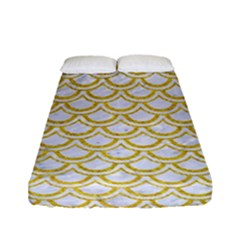 SCALES2 WHITE MARBLE & YELLOW DENIM (R) Fitted Sheet (Full/ Double Size)