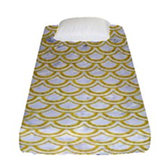 SCALES2 WHITE MARBLE & YELLOW DENIM (R) Fitted Sheet (Single Size)