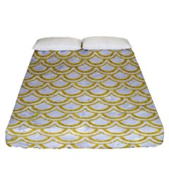 SCALES2 WHITE MARBLE & YELLOW DENIM (R) Fitted Sheet (Queen Size)