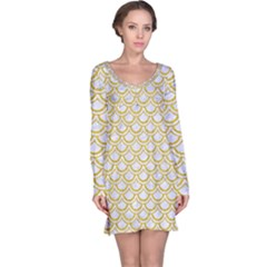 SCALES2 WHITE MARBLE & YELLOW DENIM (R) Long Sleeve Nightdress
