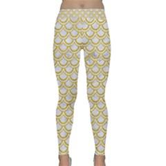 SCALES2 WHITE MARBLE & YELLOW DENIM (R) Classic Yoga Leggings