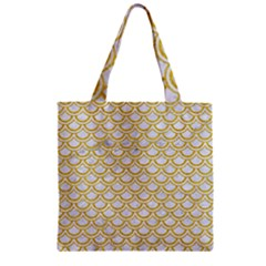 SCALES2 WHITE MARBLE & YELLOW DENIM (R) Zipper Grocery Tote Bag