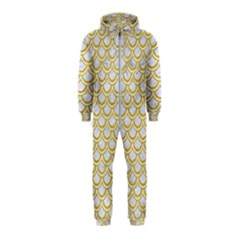 SCALES2 WHITE MARBLE & YELLOW DENIM (R) Hooded Jumpsuit (Kids)
