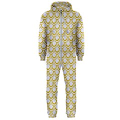 SCALES2 WHITE MARBLE & YELLOW DENIM (R) Hooded Jumpsuit (Men)