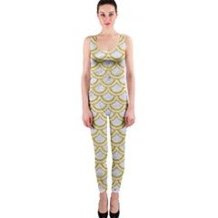 SCALES2 WHITE MARBLE & YELLOW DENIM (R) One Piece Catsuit