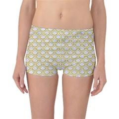 SCALES2 WHITE MARBLE & YELLOW DENIM (R) Boyleg Bikini Bottoms