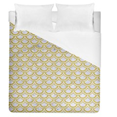 SCALES2 WHITE MARBLE & YELLOW DENIM (R) Duvet Cover (Queen Size)