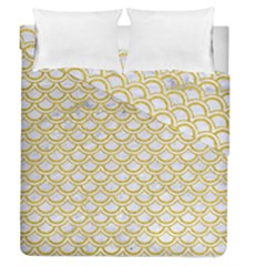 SCALES2 WHITE MARBLE & YELLOW DENIM (R) Duvet Cover Double Side (Queen Size)
