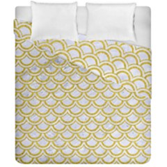 SCALES2 WHITE MARBLE & YELLOW DENIM (R) Duvet Cover Double Side (California King Size)