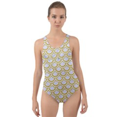 SCALES2 WHITE MARBLE & YELLOW DENIM (R) Cut-Out Back One Piece Swimsuit