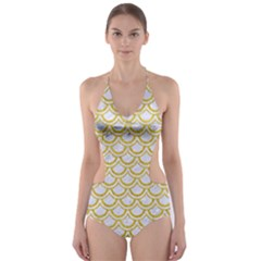 SCALES2 WHITE MARBLE & YELLOW DENIM (R) Cut-Out One Piece Swimsuit