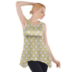 SCALES2 WHITE MARBLE & YELLOW DENIM (R) Side Drop Tank Tunic