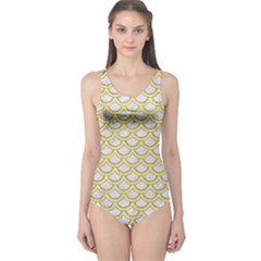 SCALES2 WHITE MARBLE & YELLOW DENIM (R) One Piece Swimsuit