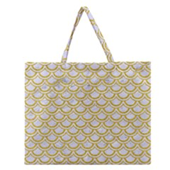 SCALES2 WHITE MARBLE & YELLOW DENIM (R) Zipper Large Tote Bag