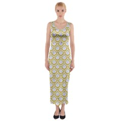 SCALES2 WHITE MARBLE & YELLOW DENIM (R) Fitted Maxi Dress