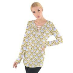 SCALES2 WHITE MARBLE & YELLOW DENIM (R) Tie Up Tee