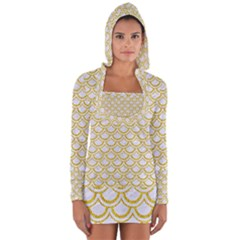SCALES2 WHITE MARBLE & YELLOW DENIM (R) Long Sleeve Hooded T-shirt