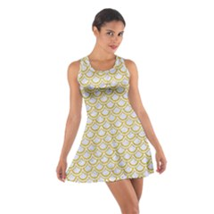 SCALES2 WHITE MARBLE & YELLOW DENIM (R) Cotton Racerback Dress