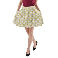 SCALES2 WHITE MARBLE & YELLOW DENIM (R) A-Line Pocket Skirt