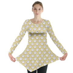 SCALES2 WHITE MARBLE & YELLOW DENIM (R) Long Sleeve Tunic