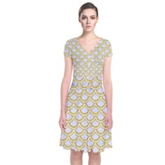 SCALES2 WHITE MARBLE & YELLOW DENIM (R) Short Sleeve Front Wrap Dress