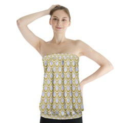 SCALES2 WHITE MARBLE & YELLOW DENIM (R) Strapless Top
