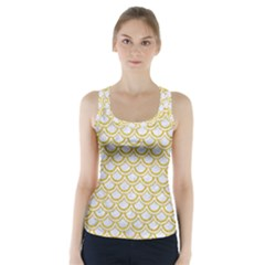 SCALES2 WHITE MARBLE & YELLOW DENIM (R) Racer Back Sports Top