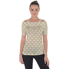 SCALES2 WHITE MARBLE & YELLOW DENIM (R) Short Sleeve Top