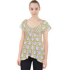 SCALES2 WHITE MARBLE & YELLOW DENIM (R) Lace Front Dolly Top