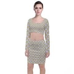 SCALES2 WHITE MARBLE & YELLOW DENIM (R) Long Sleeve Crop Top & Bodycon Skirt Set