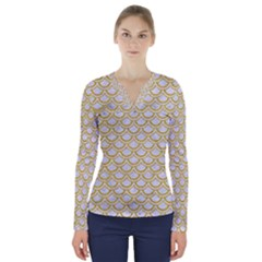 SCALES2 WHITE MARBLE & YELLOW DENIM (R) V-Neck Long Sleeve Top