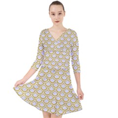 SCALES2 WHITE MARBLE & YELLOW DENIM (R) Quarter Sleeve Front Wrap Dress