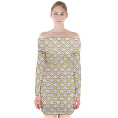 SCALES2 WHITE MARBLE & YELLOW DENIM (R) Long Sleeve Off Shoulder Dress