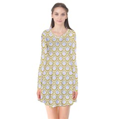 SCALES2 WHITE MARBLE & YELLOW DENIM (R) Flare Dress