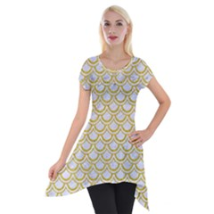SCALES2 WHITE MARBLE & YELLOW DENIM (R) Short Sleeve Side Drop Tunic