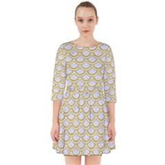 SCALES2 WHITE MARBLE & YELLOW DENIM (R) Smock Dress