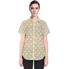 SCALES2 WHITE MARBLE & YELLOW DENIM (R) Women s Short Sleeve Shirt