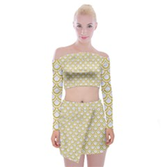 SCALES2 WHITE MARBLE & YELLOW DENIM (R) Off Shoulder Top with Mini Skirt Set