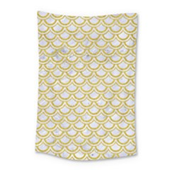 SCALES2 WHITE MARBLE & YELLOW DENIM (R) Small Tapestry