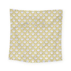 SCALES2 WHITE MARBLE & YELLOW DENIM (R) Square Tapestry (Small)
