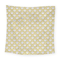 SCALES2 WHITE MARBLE & YELLOW DENIM (R) Square Tapestry (Large)