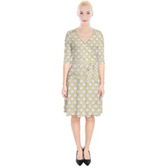 SCALES2 WHITE MARBLE & YELLOW DENIM (R) Wrap Up Cocktail Dress