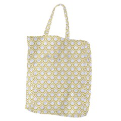 SCALES2 WHITE MARBLE & YELLOW DENIM (R) Giant Grocery Zipper Tote